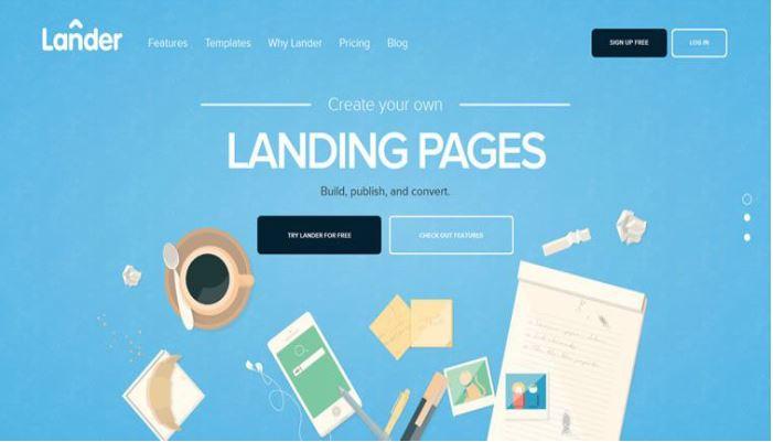 Ví dụ về trang web Flat Design.